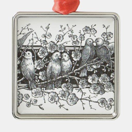 Vintage Birds Premium Square Ornament