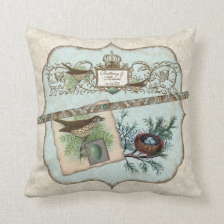 Vintage Birds, Robin's Egg Blue Crown Nest Pillow