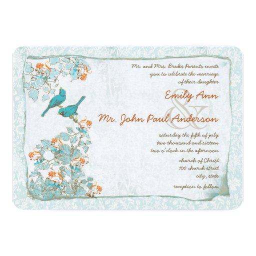 Vintage Birds Turquoise And Orange Damask Wedding 13 Cm X