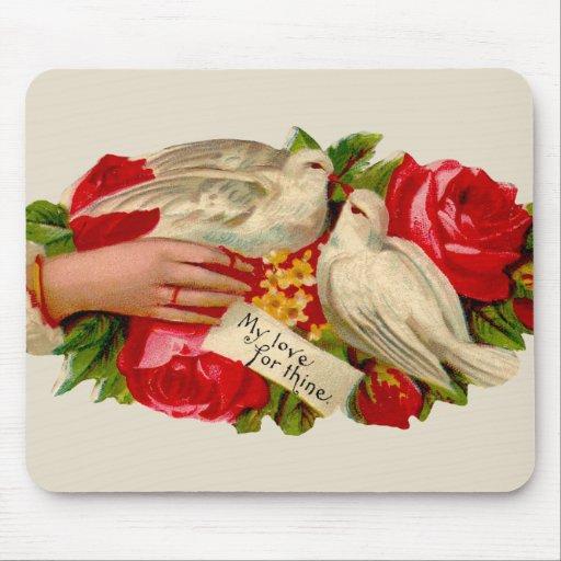 Vintage Birds Victorian Love Doves Mouse Pad
