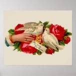 Vintage Birds Victorian Love Doves Poster