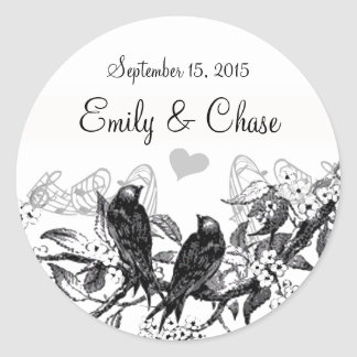 Vintage Birds White Flowers Wedding Stickers