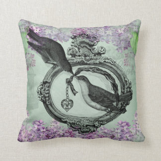 Vintage Birds With Heart Locket Apparel and Gifts Throw Pillows