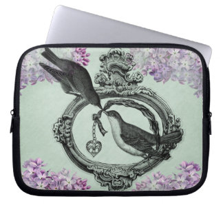 Vintage Birds With Heart Locket Apparel and Gifts Laptop Sleeve