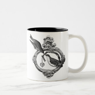 Vintage Birds With Heart Locket Apparel and Gifts Mugs