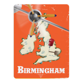 Vintage Birmingham Travel Poster 17 Cm X 22 Cm Invitation Card