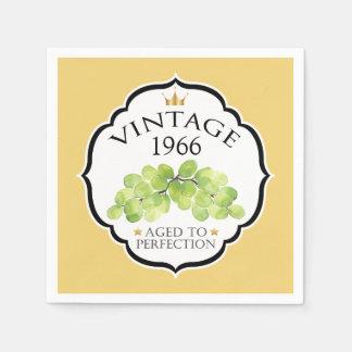 Vintage Birth Year Birthday Wine Label Disposable Serviettes