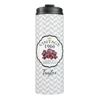 Vintage Birth Year with Red Grapes Thermal Tumbler