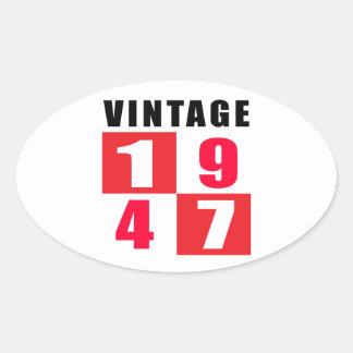 Vintage Birthday 1947 Oval Sticker