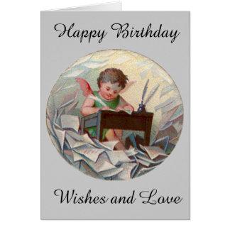 Vintage Birthday Angel Child Writing at Desk Card