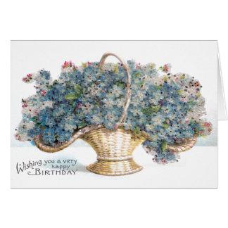 Vintage Birthday Beaded Basket of Blue Flowers Card