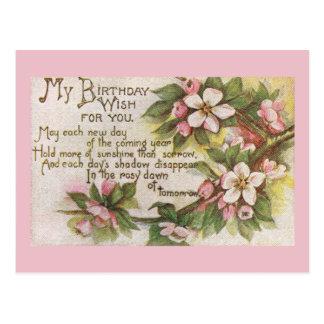 Vintage Birthday Blossoms Postcard