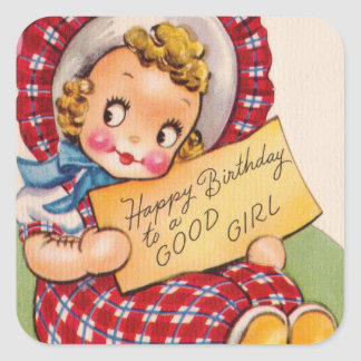 Vintage Birthday girl cute sticker