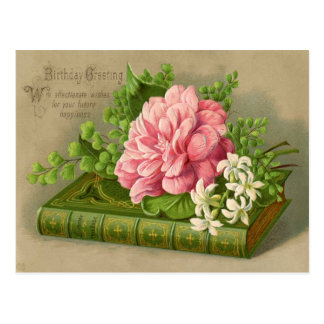 Vintage Birthday Greeting Wishes Floral Classy Postcard