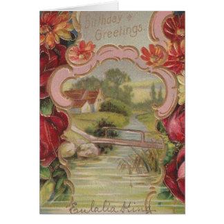 Vintage Birthday Greetings Pretty Flowers Card