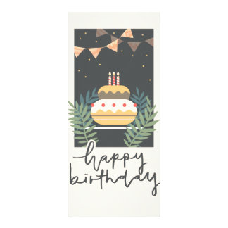 Vintage birthday greetings with cake and balloons customised rack card