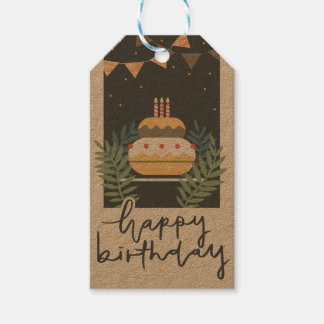 Vintage birthday greetings with cake and balloons gift tags