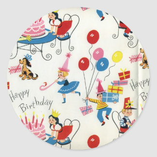 Vintage Birthday Party Classic Round Sticker