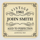 Vintage Birthday Party Favour Square Sticker