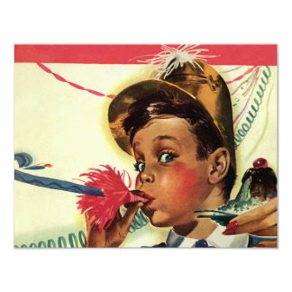 Vintage Birthday Party, Girl with Noise Maker Card
