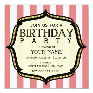 "Vintage Birthday Party Invitation 5.25"" Square Invitation Card"