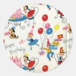 Vintage Birthday Party Round Sticker
