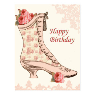 Vintage birthday postcard with shoe and roses