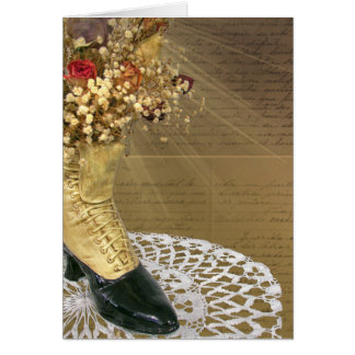 vintage birthday shoe on lace doily card