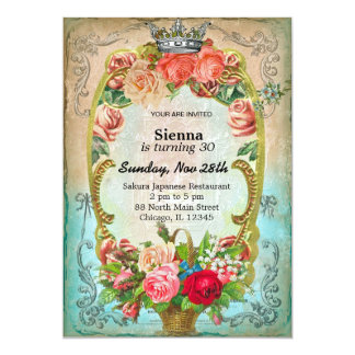 Vintage birthday style 13 cm x 18 cm invitation card
