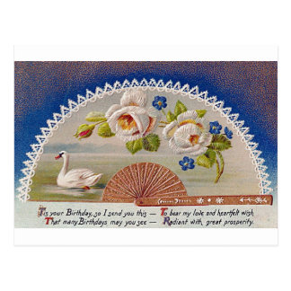 Vintage Birthday Swan Blue Postcard