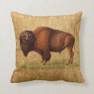 Vintage Bison American Buffalo Illustration Cushion