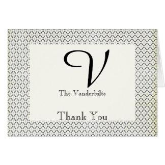 Vintage Black and Cream Diamond Wedding Thank You Card