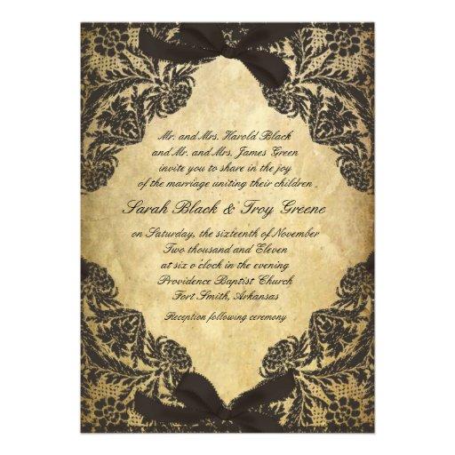 Vintage Black and Cream Lace Personalized Invite