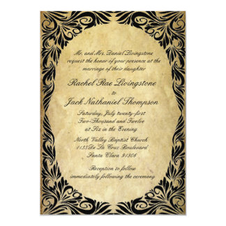 Vintage Black and Cream Wedding Card