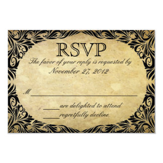Vintage Black and Cream Wedding RSVP Card