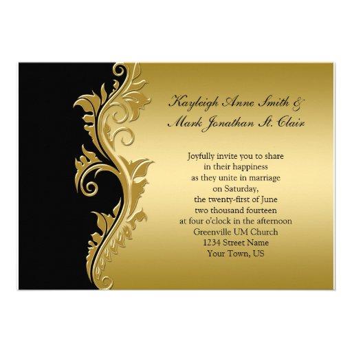 Vintage Black and Gold Wedding Invitation