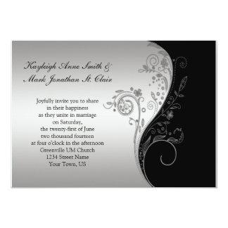 Vintage Black and Silver Wedding Invitation