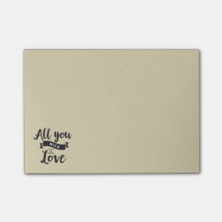 Vintage Black and Tan Love QuoteTypography Post-it Notes