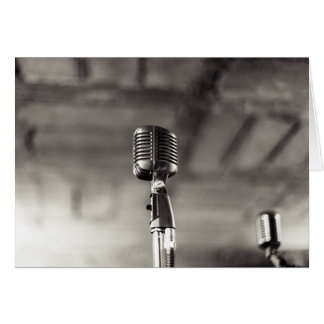 Vintage Black and White Audiophile Microphone Card