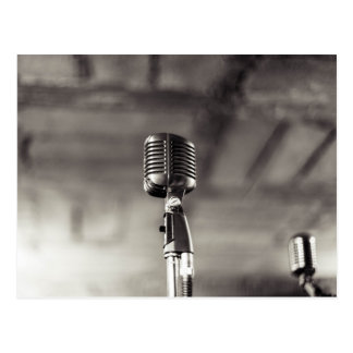 Vintage Black and White Audiophile Microphone Postcard