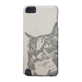 Vintage Black and White Cat Illustration iPod Touch 5G Cases