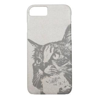 Vintage Black and White Cat Illustration iPhone 7 Case