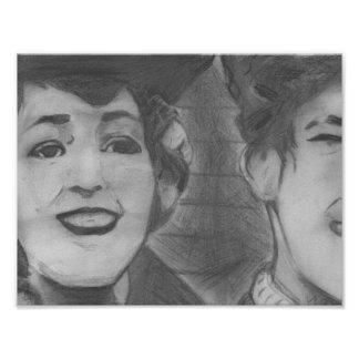 Vintage Black and White Charcoal Art Poster