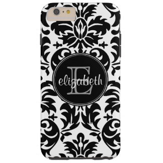 Vintage Black and White Damask Pattern Monogram Tough iPhone 6 Plus Case