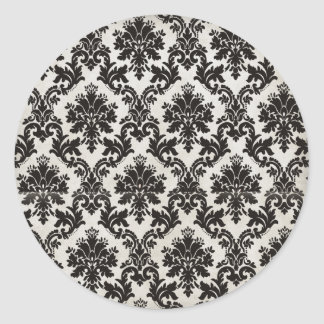 Vintage Black and White Damask Wallpaper Classic Round Sticker