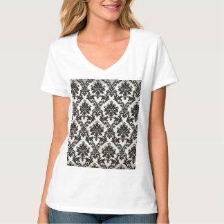 Vintage Black and White Damask Wallpaper T-Shirt