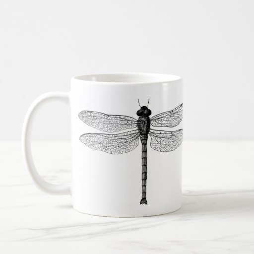 Vintage Black and White Dragonfly Illustration Coffee Mugs