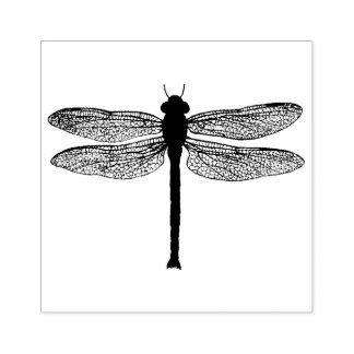 Vintage Black and White Dragonfly Illustration Rubber Stamp