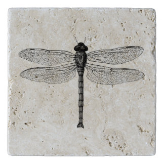 Vintage Black and White Dragonfly Illustration Trivet