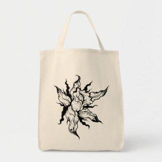 Vintage Black and White Flower Illustration Tote Grocery Tote Bag